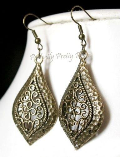 """Ornate Hammered Bronze Look Filigree TearDrop Earrings    1""""x 2.25"""" 2.6 x 5.5cm"""