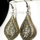 "Ornate Hammered Bronze Look Filigree TearDrop Earrings    1""x 2.25"" 2.6 x 5.5cm"