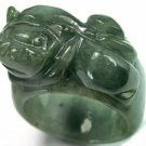 Mens Chinese Feng Shui Pixiu Dark Green Jade Ring     U.5 ~ 10.5