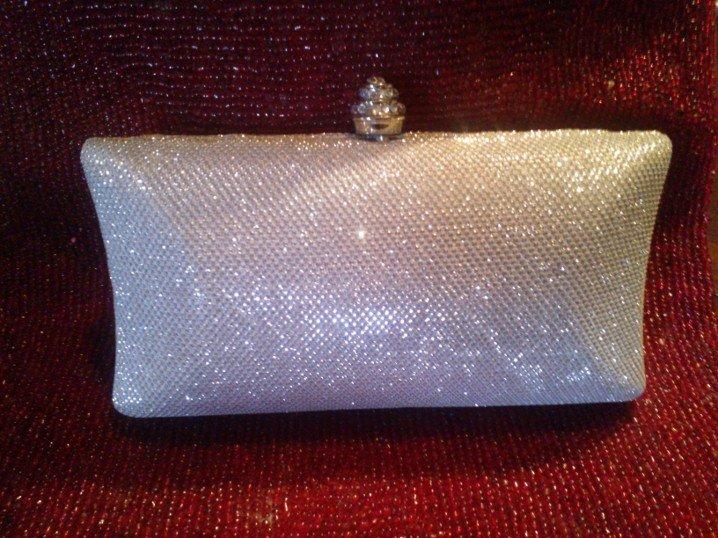 Natasha Jeweled Silver Material and Clear Crystal Handbag