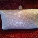 Natasha Jeweled Silver Material and Clear Crystal Handbag