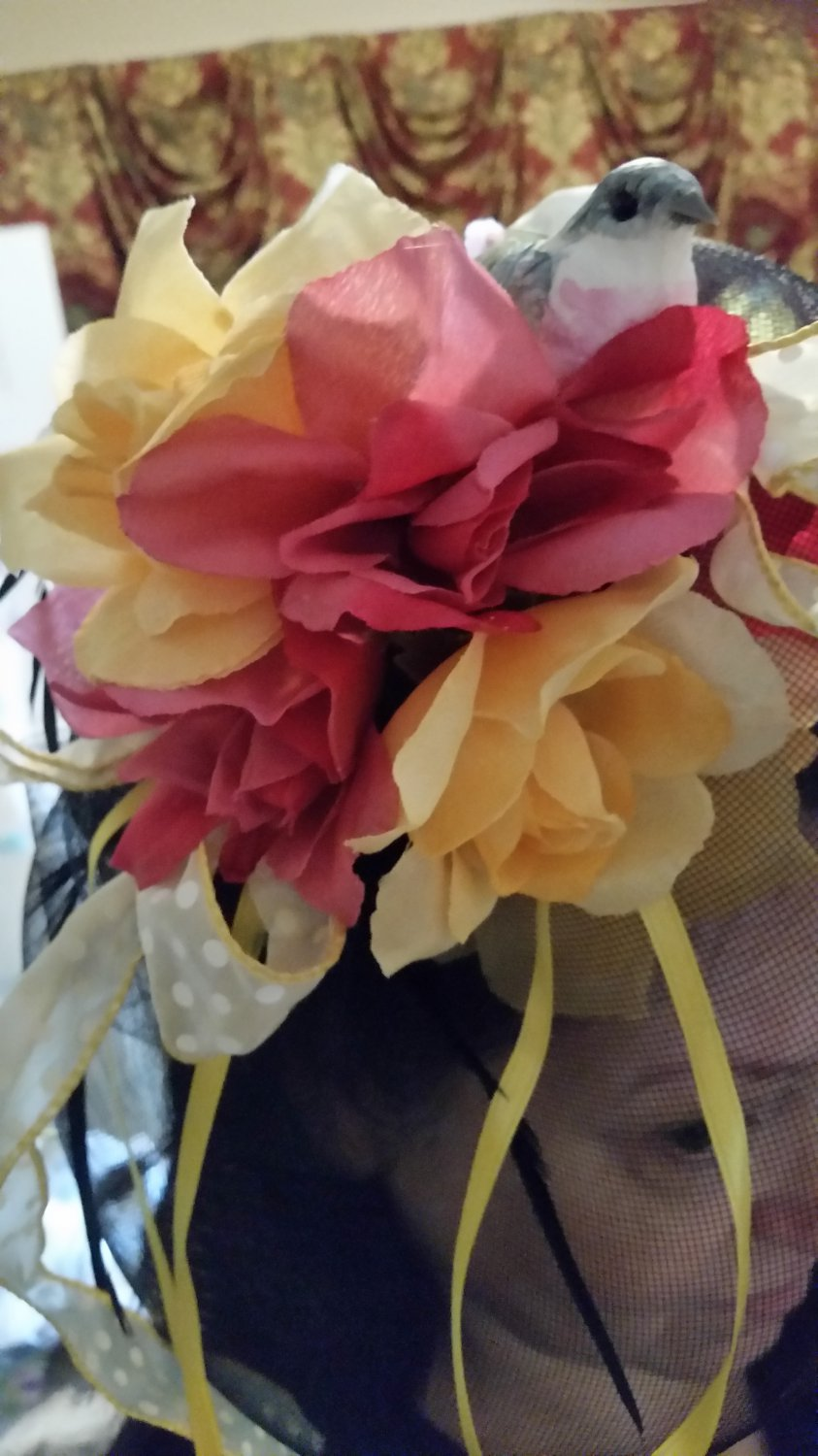 Fascinator Derby Hat With Yellow and Pink Roses, and Bird