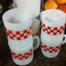 vintage red white checker milk glass mugs 5 lot plaid design ovenproof rp co