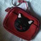 J.P.Ourse & CIE red Leather cute kitty black cat coin purse id holder