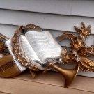 "Vintage Burwood HUGE 42"" Music Deco Wall Art 1960s mandolin horn sheet music"