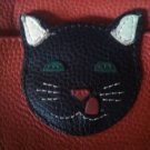 J.P.Ourse & CIE red Leather figural cute kitty black cat coin purse id holder