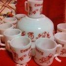 Vintage 10Pc Tom and Jerry Christmas Milk Glass Punch Eggnog Bowl Mug Set Atlas