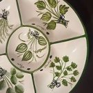 ceramic plate white green divided Round Chip Dip Plate Platter Relish Tray