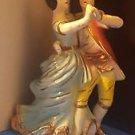 mid century vintage ceramic dancing victorian Figurine Statue gold gilt