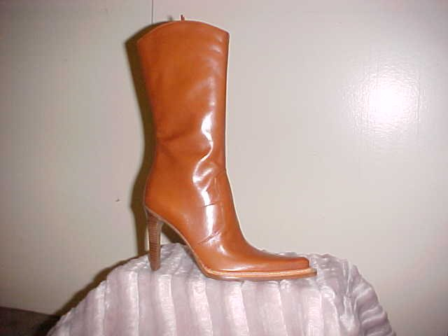 BCBG COGNAC LEATHER BOOT