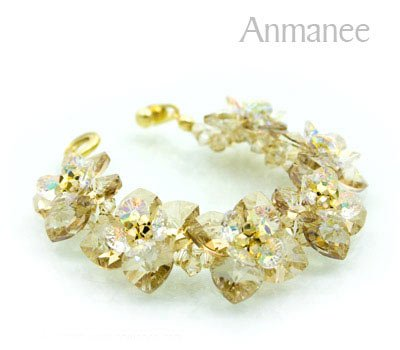 Handcrafted Swarovski Crystal Bracelet - Golden Brown Pikul 010253