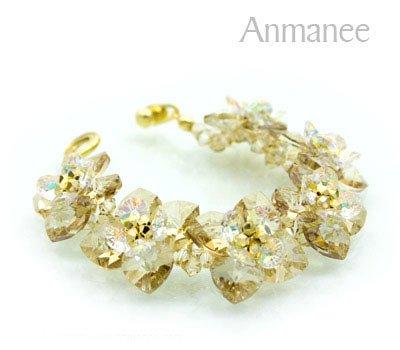 Handcrafted Swarovski Crystal Bracelet - Golden Brown Pikul 010253