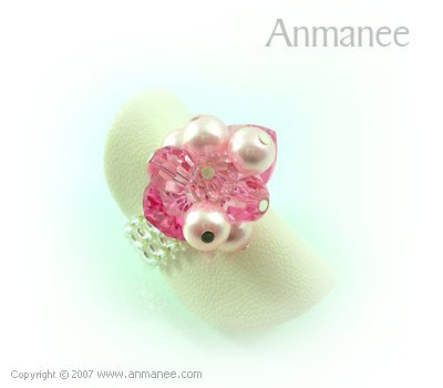 Handcrafted Swarovski Crystal Ring - Bloom Crystal and Pearl 01043