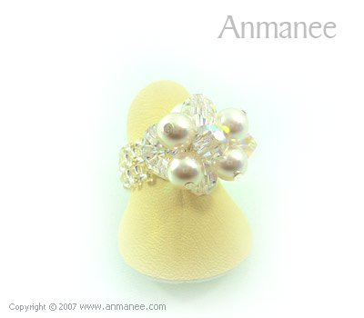 Handcrafted Swarovski Crystal Ring - Bloom Crystal and Pearl 01044