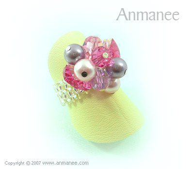 Handcrafted Swarovski Crystal Ring - Bloom Crystal and Pearl 01046