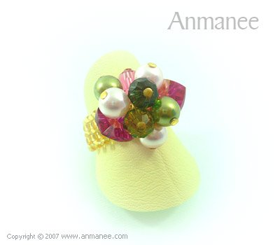 Handcrafted Swarovski Crystal Ring - Bloom Crystal and Pearl 010410