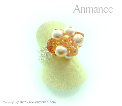 Handcrafted Swarovski Crystal Ring - Bloom Crystal and Pearl 01049