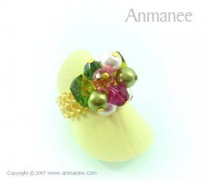Handcrafted Swarovski Crystal Ring - Bloom Crystal and Pearl 010412