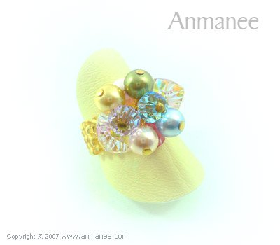Handcrafted Swarovski Crystal Ring - Bloom Crystal and Pearl 010413