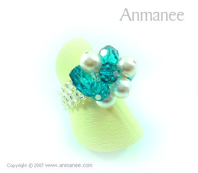 Handcrafted Swarovski Crystal Ring - Bloom Crystal and Pearl 010414