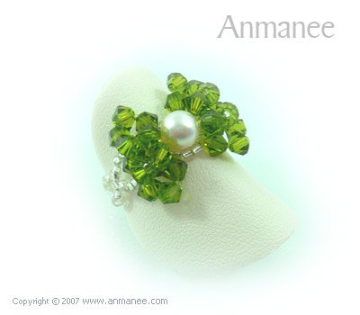 Handcrafted Swarovski Crystal - Ring Bow 010415