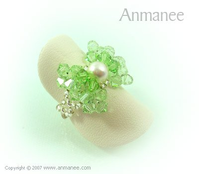 Handcrafted Swarovski Crystal - Ring Bow 010421