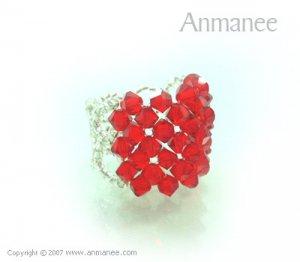 Handcrafted Swarovski Crystal Ring - Square 010471