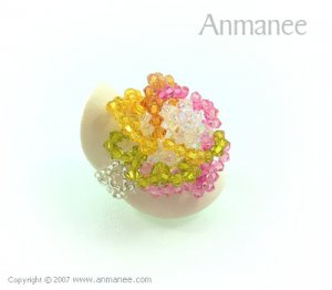 Handcrafted Swarovski Crystal Ring - Rose 010464