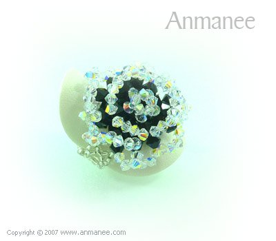 Handcrafted Swarovski Crystal Ring - Rose 010466