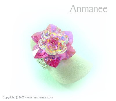 Handcrafted Swarovski Crystal Ring - Cactus 010424