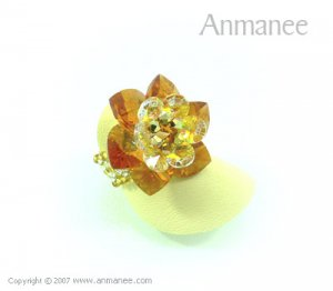 Handcrafted Swarovski Crystal Ring - Cactus 010425