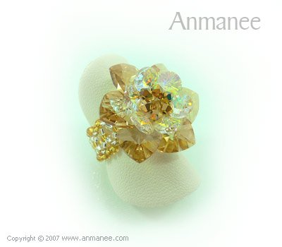 Handcrafted Swarovski Crystal Ring - Cactus 010427