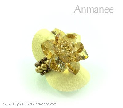 Handcrafted Swarovski Crystal Ring - Cactus 010429
