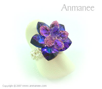 Handcrafted Swarovski Crystal Ring Bloom 01041