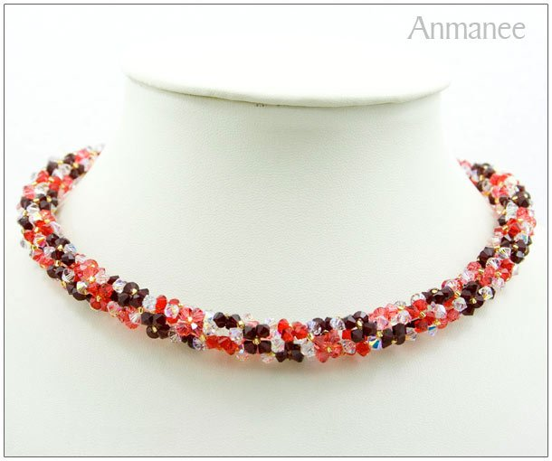 Handcrafted Swarovski Crystal Necklace - Twist-L 01011