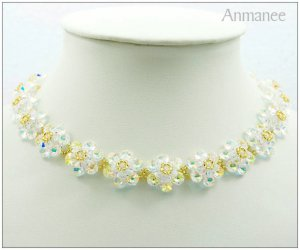 Handcrafted Swarovski Crystal Necklace Mouse Full 01019