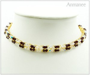 Handcrafted Swarovski Crystal Necklace Pikul-Single 010133