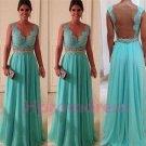 2014 Blue lace Leak back prom dress, formal cocktail dress, evening dress