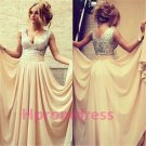 2015 New v-neck wedding dress sexy bridal dress long prom dress