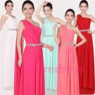 2015 New one-shoulder Streamer bridesmaid dress long formal proms evening dresses