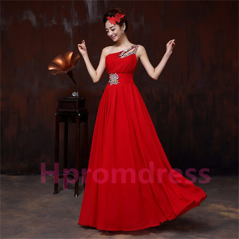 2015 New red one-shoulder beadling bridesmaid dress long formal proms evening dresses