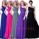 2015 New custom color one-shoulder  bridesmaid dress long formal proms evening dresses