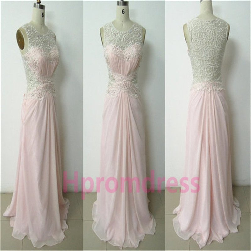 New pink lace party dress long formal evening dresses lace prom dress