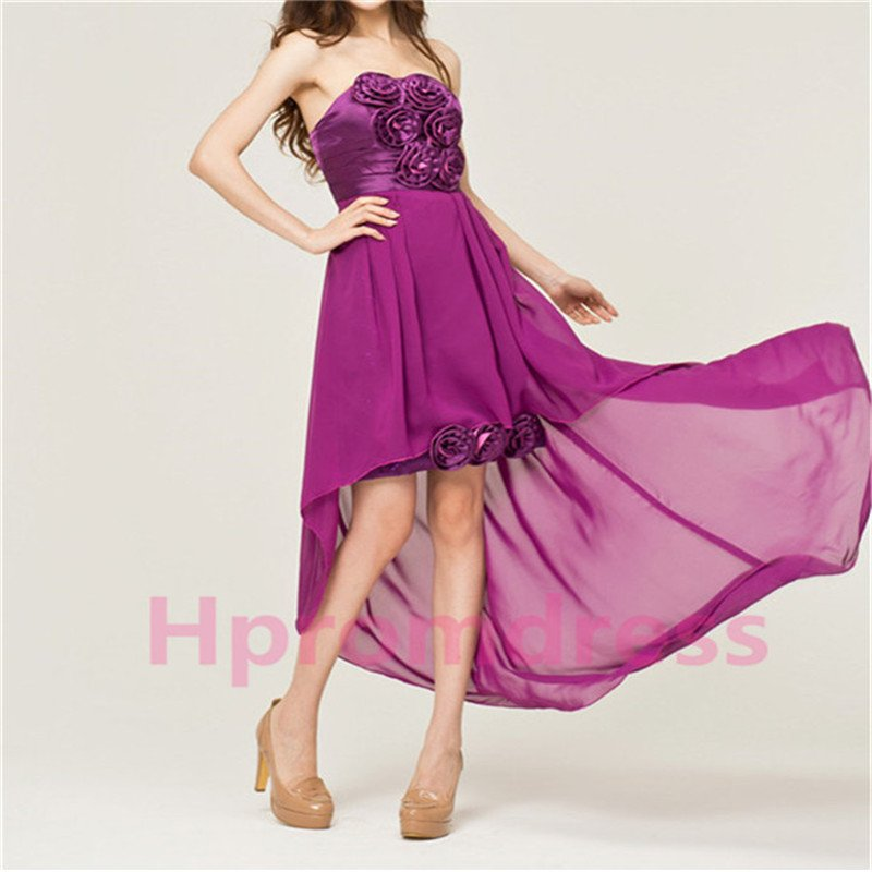 Strapless purple asymmetrical flowers quinceanera dress formal cocktail dresses