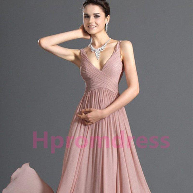 2015 New V-neck formal bridesmaid dress chiffon prom party dress