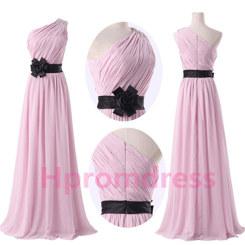 2015 New elegant pink one-shoulder formal bridesmaid dress chiffon prom party dress