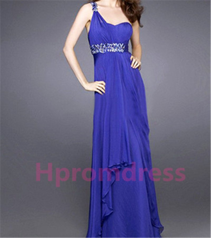 2015 New elegant blue one-shoulder beads formal bridesmaid dress chiffon prom party dress