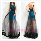 2015 New Sexy transparent black gauze dress performance dress
