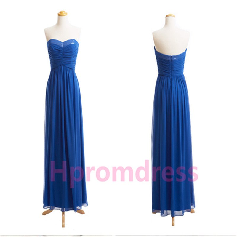 New Hot strapless blue bridesmaid dress custom size color long evening party dress
