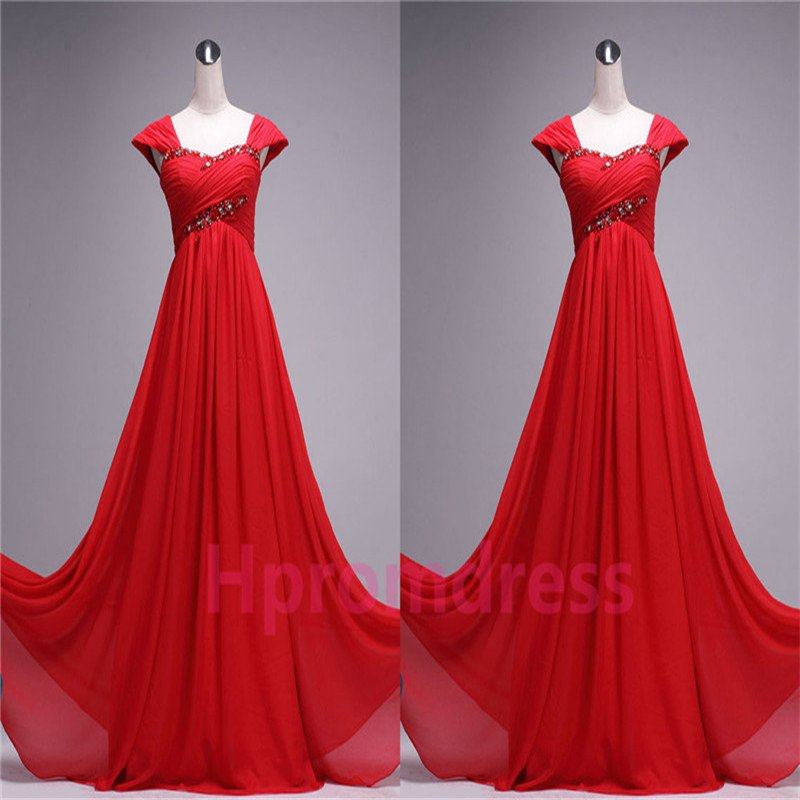 New Hot red beads bridesmaid dress custom size color long evening party dress